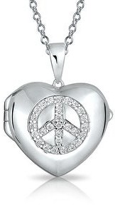 Bling Jewelry CZ Peace Sign Necklace Heart Locket Memorial Momenta Holder Sterling