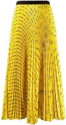 Miu Miu logo and rose print pleated skirt