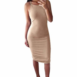 LEXUPE Women Comfortable Sexy Dresses Casual Fashion Summer Skirts Ladies Solid Sleeveless Knee Length Dress Camisole Summer Dress(Beige 2XL)