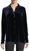 Lafayette 148 New York Carlita Long-Sleeve Snap-Front Velvet Blouse