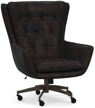 Pottery Barn Wells Leather Swivel Desk Chair