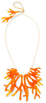 Dinosaur Designs Coral Fan Resin Necklace - Orange