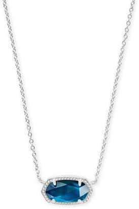 Kendra ScottKendra Scott Elisa Silver Pendant Necklace in Peacock Blue Illusion