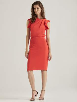 Halston Asymmetric Neck Dress
