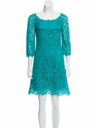 Dolce & Gabbana Lace-Trimmed Mini Dress Teal