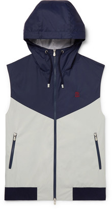 Brunello Cucinelli Slim-Fit Jersey-Trimmed Colour-Block Shell Hooded Gilet