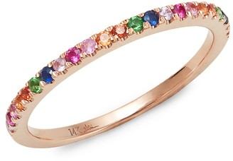 Saks Fifth Avenue 14K Rose Gold, Green Garnet Multicolor Sapphire Ring