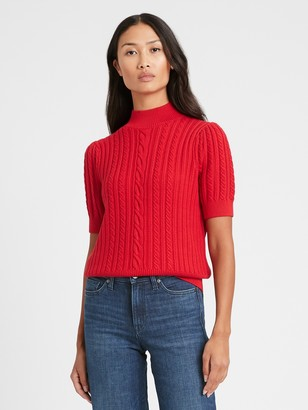 Banana Republic Short-Sleeve Cable-Knit Sweater