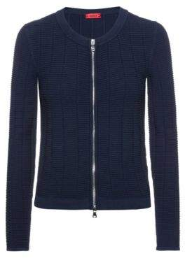 HUGO Knitted jacket in waffle-structured super-stretch fabric