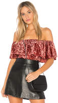 Band of Gypsies Crushed Velvet Off the Shoulder Bodysuit in Red. - size L (also in M,S,XS)