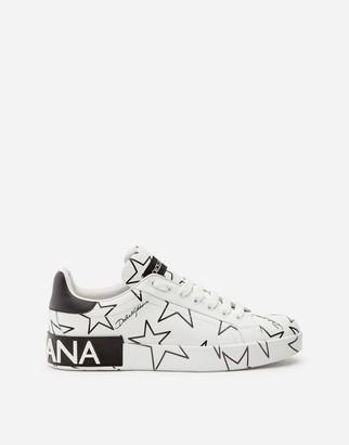 Dolce & Gabbana Mixed Star Print Nappa Leather Portofino Sneakers