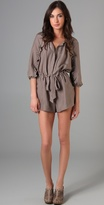 Washed Silk Romper with Ruffles