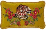 Gucci Velvet cushion with leopard embroidery