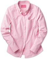 Charles Tyrwhitt Women's Semi-Fitted Light Pink and White Spot Print Oxford Cotton Shirt Size 10