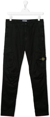 Stone Island Junior TEEN logo-patch slim-fit cargo trousers