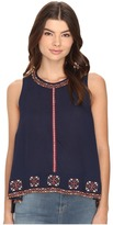 Brigitte Bailey Bren Sleeveless Zip-Up Embroidered Top