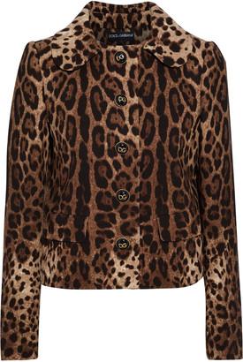 Dolce & Gabbana Button-embellished Leopard-print Wool-crepe Jacket