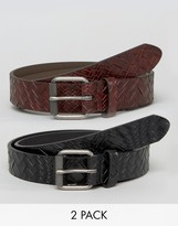 French Connection 2 Pack Leather Belt In Black And Brown