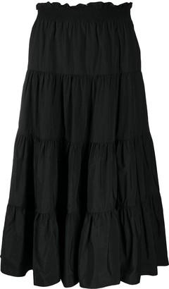 Sea tiered A-line midi skirt