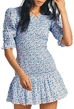 LoveShackFancy Luppa Cotton Printed Mini Dress