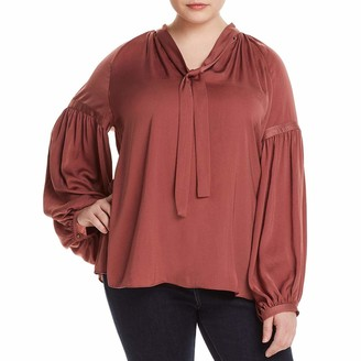 Lucky Brand Women's Size Plus Jenna Peasant TOP in Rose 1X