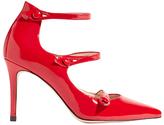 Karen Millen Mary Jane Triple Strap Court Shoes, Red