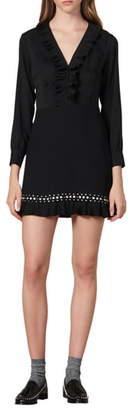 Sandro Coreen Ruffle & Stud Detail Long Sleeve Fit & Flare Dress