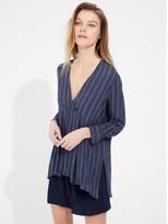 Halston Stripe gauze tunic
