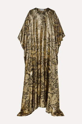 Oscar de la Renta Draped Metallic Silk-blend Brocade Gown - Gold