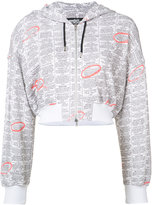 Jeremy Scott zip up printed hoodie - women - Cotton - 38