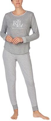 Lauren Ralph Lauren Double Knit Logo Long Sleeve Scoop Neck Pants Pajama Set (Heather Stripe) Women's Pajama Sets