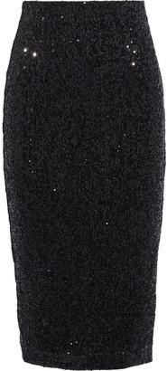 Rebecca Vallance Mica Sequined Metallic Crepe Pencil Skirt