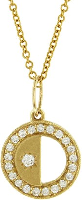 Andrea Fohrman First/Last Quarter Half Phases of the Moon Yellow Gold Necklace