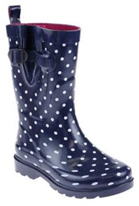 ONLINE Shiny Printed Stray Dots Rubber Mid Calf Women Rain Boot