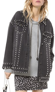 MICHAEL Michael Kors Oversized Studded Denim Jacket in Charcoal Wash