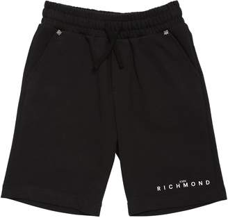 John Richmond LOGO PRINTED COTTON SWEAT SHORTS