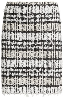 St. John Textured Plaid Skirt
