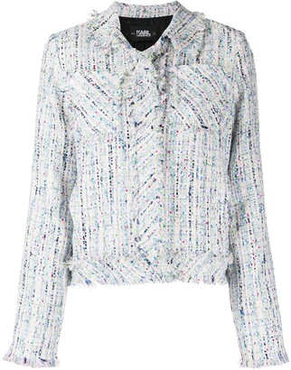 Karl Lagerfeld Paris Frayed Boucle Jacket