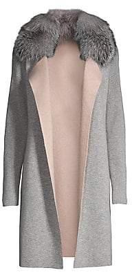 Sofia Cashmere Women's Fox Fur-Collar Cashmere Cardigan