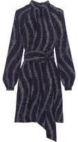 Vanessa Seward Cecily Printed Silk Crepe De Chine Turtleneck Mini Dress