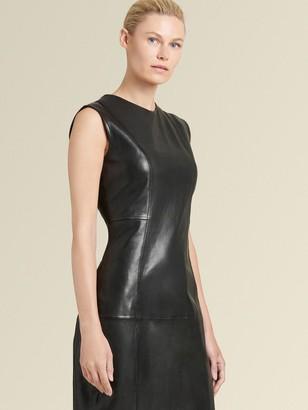 DKNY Sleeveless Leather Sheath Dress