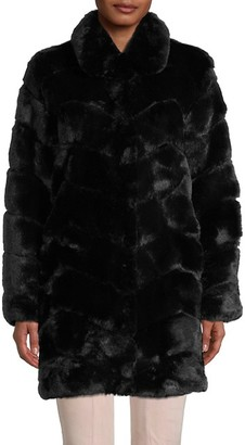 Belle Fare Chevron Faux-Fur Jacket