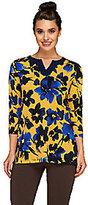 Susan Graver Printed Liquid Knit Split Neck 3/4 Sleeve Tunic
