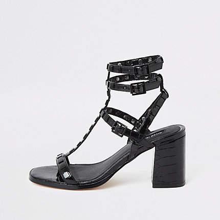 Black Gladiator Heel Studded Block Sandals 6fgyv7bY