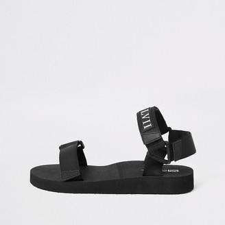 River Island Black 'LVII' velcro strap sandals