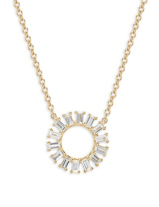 Saks Fifth Avenue 14K Yellow Gold Baguette Diamond Open-Circle Pendant Necklace