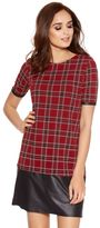 Quiz Berry And Black Crepe Check PU Hem Tunic