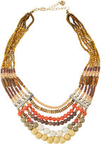 Nakamol Multi-Strand Beaded Collar Necklace, Orange Mix