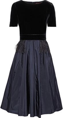 Max Mara Flared Feather-embellished Velvet And Taffeta Dress