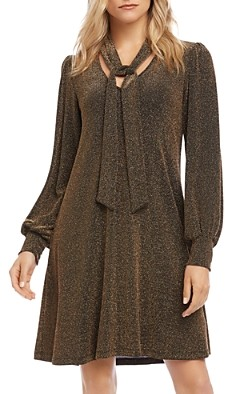 Karen Kane Taylor Metallic Tie-Neck Dress